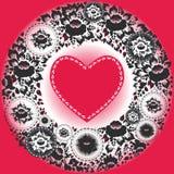 Corazones rosados y flores negras Tarjeta de felicitación Fotos de archivo
