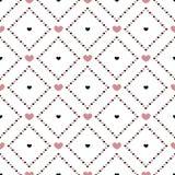 Corazones rosados y negros en diamantes Ilustración del Vector