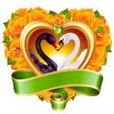 Corazones, rosas y cisnes stock de ilustración