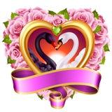 Corazones, rosas y cisnes ilustración del vector