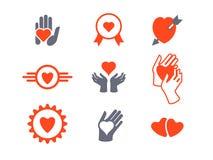Corazones, sistema del icono de las manos Concepto de amor, cuidado, protección Imagen de archivo