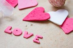 Corazones, tarjeta de felicitación del día de tarjetas del día de San Valentín Imágenes de archivo libres de regalías