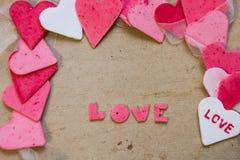 Corazones, tarjeta de felicitación del día de tarjetas del día de San Valentín Fotografía de archivo