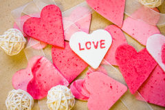 Corazones, tarjeta de felicitación del día de tarjetas del día de San Valentín Fotos de archivo libres de regalías