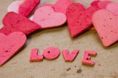 Corazones, tarjeta de felicitación del día de tarjetas del día de San Valentín Imagen de archivo libre de regalías