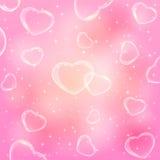 Corazones transparentes en fondo rosado libre illustration