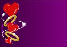 Corazones y anillos de las tarjetas del día de San Valentín Fotos de archivo libres de regalías