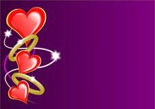 Corazones y anillos de las tarjetas del día de San Valentín Imagenes de archivo