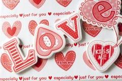 Corazones y caja del amor Fotografía de archivo libre de regalías