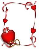 Corazones y cintas 3D de la tarjeta del día de San Valentín Foto de archivo
