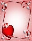 Corazones y cintas 3D de la tarjeta del día de San Valentín Fotos de archivo