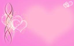 Corazones y cintas burbujeantes en fondo rosado Fotos de archivo libres de regalías