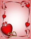 Corazones y cintas de la tarjeta del día de San Valentín   Fotos de archivo