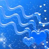 Corazones y contexto azules de las chispas Imagen de archivo libre de regalías