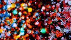Corazones y copos de nieve como símbolo del amor romántico Imagenes de archivo