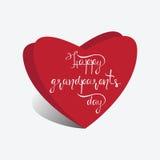 Corazones y el día feliz de los abuelos de la inscripción Imagen de archivo libre de regalías