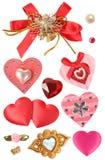 Corazones y elementos decorativos Fotografía de archivo libre de regalías