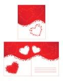 Corazones y enrollamientos rojos Foto de archivo libre de regalías
