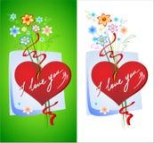 Corazones y flores Imagenes de archivo
