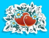Corazones y flores Fotografía de archivo libre de regalías