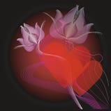 Corazones y flores de la tarjeta del día de San Valentín Fotografía de archivo