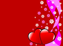 Corazones y flores de Valenties Imagen de archivo libre de regalías