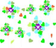 Corazones y flores despreocupados en colores de la primavera Foto de archivo