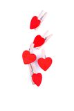 Corazones y flores a la tarjeta del día de San Valentín aislada en el ingenio blanco del fondo Imagen de archivo