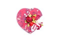 Corazones y flores a la tarjeta del día de San Valentín en un fondo blanco aislado Foto de archivo libre de regalías