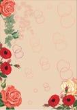 Corazones y fondo rojos de las rosas Imagen de archivo