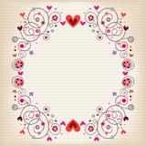 Corazones y marco de las flores en el papel alineado de cuaderno Imagen de archivo