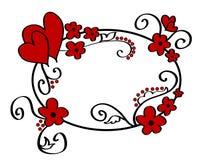 Corazones y marco floral Imagen de archivo libre de regalías