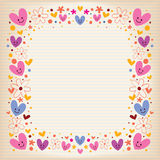 Corazones y marco retro de las flores Fotografía de archivo libre de regalías