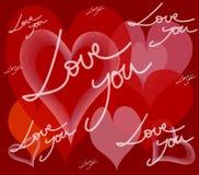 Corazones y mensaje en tarjeta del amor Fotografía de archivo libre de regalías