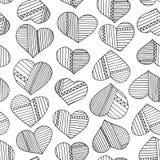 Corazones y modelo abstracto dibujado mano de las rayas Fondo inconsútil del amor del vector Fotografía de archivo