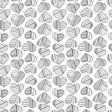 Corazones y modelo abstracto dibujado mano de las rayas Fondo inconsútil del amor del vector Fotos de archivo libres de regalías