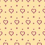Corazones y modelo de Dots Cute Hand Drawn Seamless Fotografía de archivo