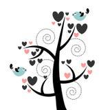 Corazones y pájaros hermosos del árbol Imagen de archivo