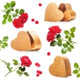 Corazones y rosas Imagenes de archivo