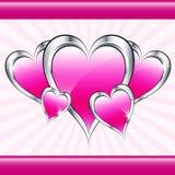 Corazones y starburst rosados del amor Imagenes de archivo