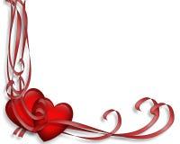 Corazones y tarjeta del día de San Valentín de las cintas Fotografía de archivo libre de regalías