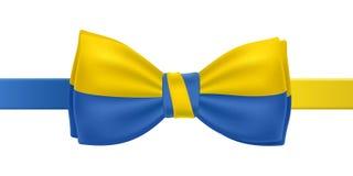 Corbata de lazo con el ejemplo ucraniano del vector de la bandera Imágenes de archivo libres de regalías