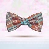 Corbata de lazo del tartán en colores en colores pastel Imagenes de archivo