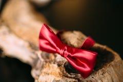Corbata de lazo en un fondo de madera Imagenes de archivo