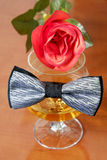Corbata de lazo gris y negra sobre un vidrio del coñac con la rosa del rojo Imagen de archivo