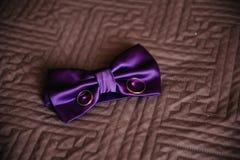 Corbata de lazo y anillos de bodas Foto de archivo libre de regalías