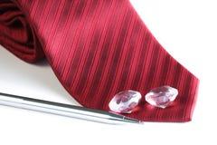 Corbata roja de la tela Fotografía de archivo
