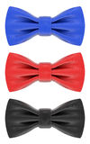 Corbatas de lazo azules, rojas y negras Fotografía de archivo