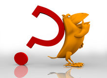 corbeau 3D avec un point d'interrogation rouge Photographie stock libre de droits