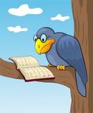 Corbeau et livre de dessin animé. Photos stock